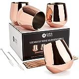 Ek & stål - 4 rostfritt stål roséguld vinglas och sugrör, 350 ml