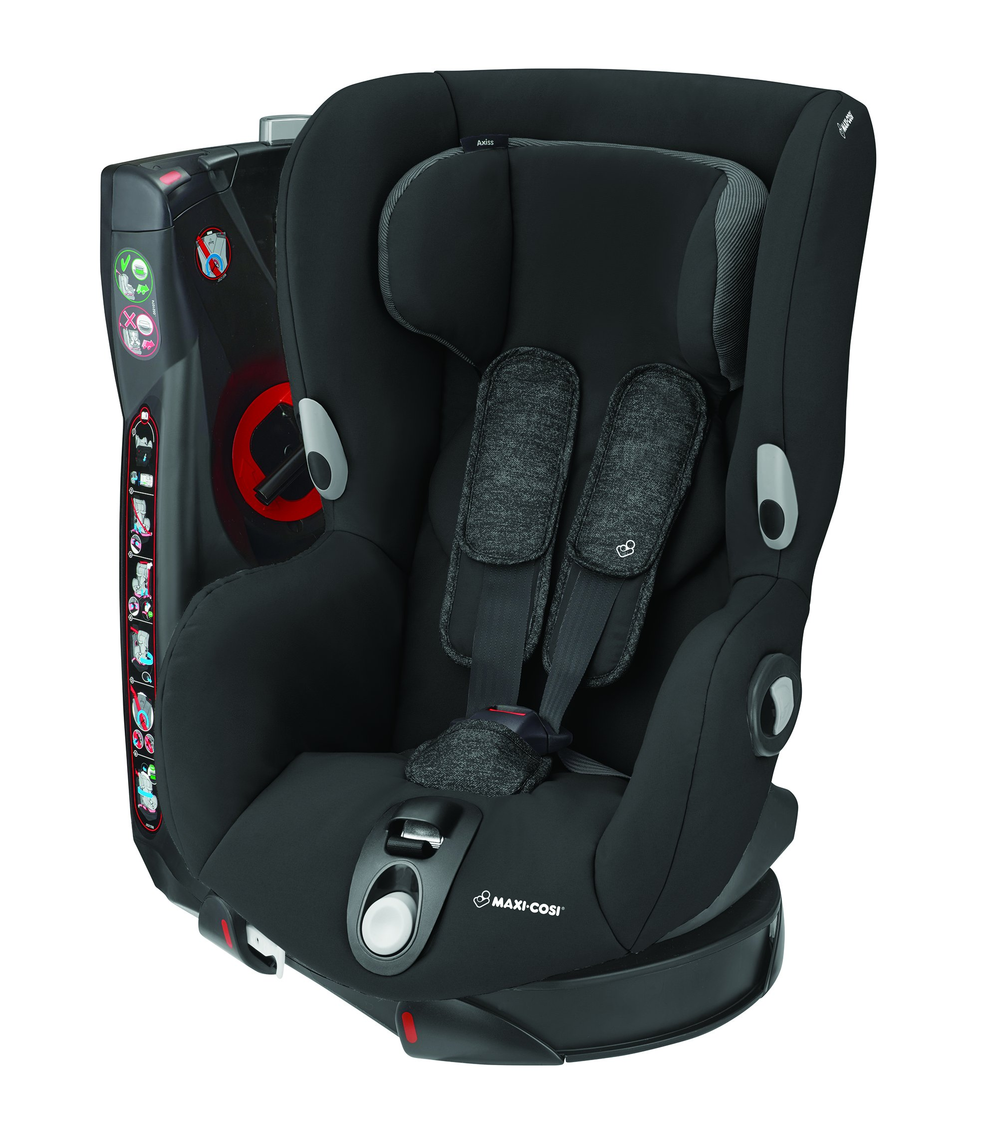 Maxi-Cosi Axiss Toddler Car Seat Group 1, Swivel Car Seat, 9 Months-4 Years, Nomad Black, 9-18 kg Maxi-Cosi Car seat swivels 90° degrees allows for front-on access to get your toddler in and out of the car more easily 8 comfortable recline positions. Machine washable cover at 30° Install using the car's seat belt and the integrated belt tensioner ensures a solid fit 1