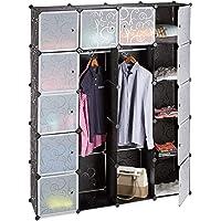 Relaxdays Étagère cubes rangement penderie armoire 14 compartiments plastique 2 tringles modulable, Plastique, Noir, 36…