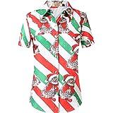 SSLR Women's Christmas Santa Claus Casual Button Down Shirt Hawaiian Blouse