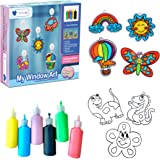Mumfactory Window Art Paint Toy for Kids - Create your own 24 Suncatchers with 24 Suction Cups - Assorted 9 Colors paints - D