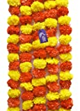 Asian Hobby Crafts Artificial Marigold Fluffy Flowers Hanging Garlands,Approx 4.5 Ft -Pack of 5 Strings -Orange/Yellow