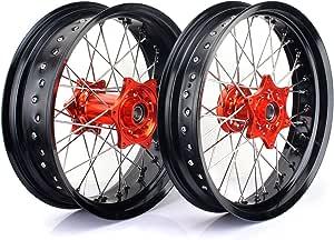 Tarazon Supermoto Radsatz Rad Felgen Wheels Radnabe Set 3 5 X17 Vorderrad 5 0 X17 Hinterrad Für Sx Sxf Exc Sxs Xc 125 530 Auto