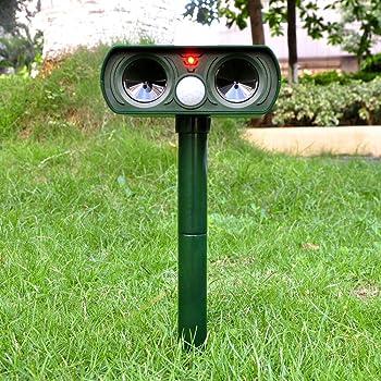 Repellente Ultrasuoni,Drillpro Impermeabile Mole Repeller Esterna Alimentata Solare Ultrasonic Animal Repeller Con Sensore PIR - topi topo, roditori, insetti e altri parassiti serpenti - Proteggere il vostro Yard Prato Giardino