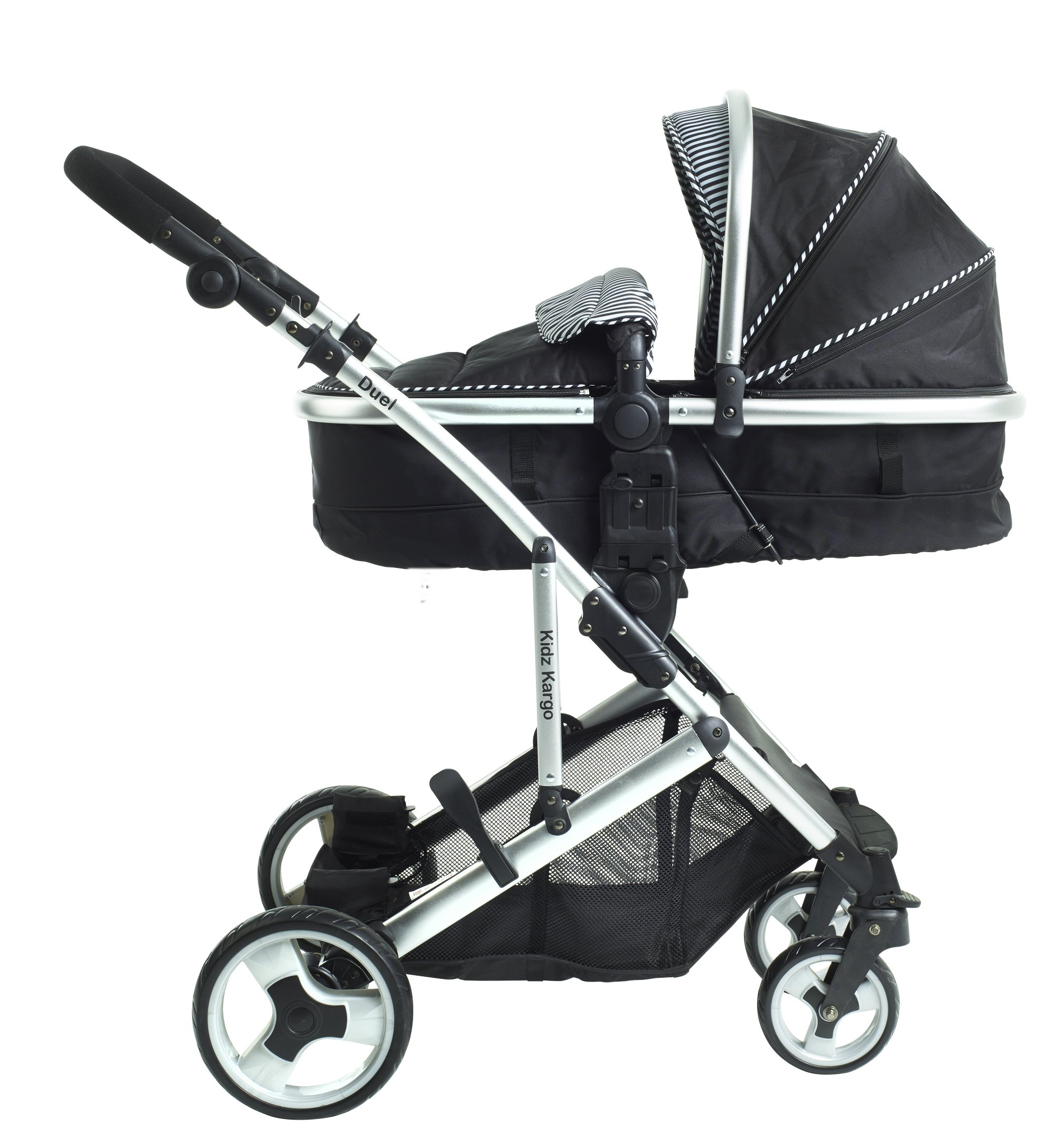 Duel combo Double pushchair with carrycot pram includes 2 FREE footmuffs Newborn & toddler, tandem travel system buggy convertible carrycot to seat unit and toddler/child seat unit, Midnight Black by Kids Kargo Kids Kargo The carrycot when converted to seat unit, can be rear or forward facing. Versatile. Suitable for Newborn and toddler: Carrycot with mattress and soft lining, which zip off. Remove lining and lid, when baby grows out of carrycot mode. Converts to a full sized seat unit, with 5 point harness. Bucket seat unit for toddler or baby over 6 months sits in forward facing bottom position , or forward and rear facing at the top, if car seat used at the bottom. 3