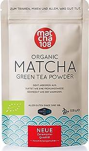 Matcha Tee Pulver 108 – Bio Zeremonie Qualität (für extra milden Teegenuss) – Ideal auch für Smoothies und Lattes – Zertifizi