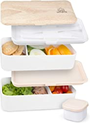 Umami® ⭐ Lunchbox | Inklusive Salatsoßen-Dose & 3-Teiligem Besteck | Brotdose Mit 2 Luftdichten Fächern | BPA-Frei | Erwachse