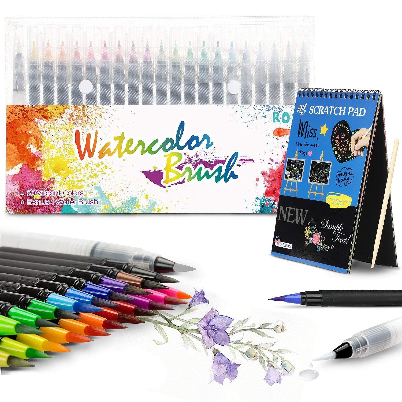 Rotuladores Pincel Wilbest, Punta de Pincel Real, 20 Colores + 1 Pincel +12 Páginas Diy Art Pad para Dibujar, Caligrafía, Pintura ect. Niños o Estudiantes