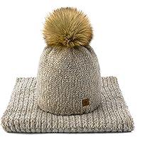 MFAZ Morefaz Ltd Set Sciarpa & Cappello Donna Lana Inverno Beanie Hat Worm Maglia Collo Cappelli Pile Pom Pom Pom