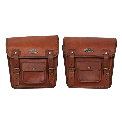 1 x Side Brown Leather Motorcycle Side Pouch Saddlebags Saddle Panniers 1Bags