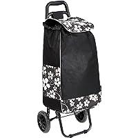 Amazon Basics - Carrello portaspesa con 2 ruote, capacità: 40 litri, nero, con design a fiori