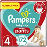Pampers Size 4 Baby-Dry Nappy Pants, 172 Count, MONTHLY SAVINGS PACK, Easy-Up Pull On Nappies (9-15 kg / 20-33 lbs)