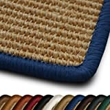 casa pura® Salvador Natural Sisal Rug with Blue Border, 250x300cm  