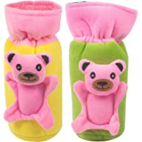 Ole Baby Plush Dual Colour Pop Cute Character Bottle Cover (Blue, Up to 500 ml) Pack of 2 Covers