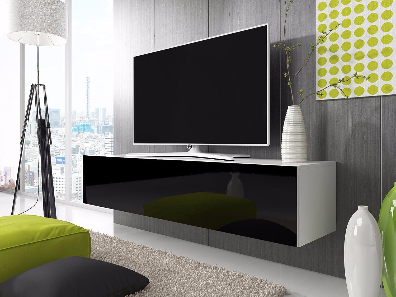 Tv schrank schwarz  TV Schrank Simple (160 cm, weiß matt / glänzend weiße): Amazon.de ...