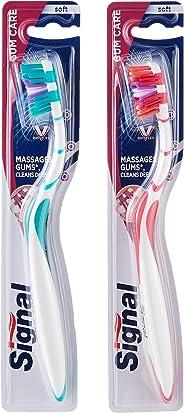 Signal Toothbrush V-Gum, Soft, Assorted, 2 Pieces