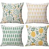 Gspirit 4 Stück Kissenbezug Kühler Sommer Frisch Kaktus Zitrone Dekorative Kissenhülle Baumwolle Leinen Werfen Sie…