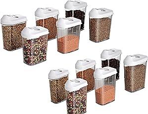 Slings Plastic 750ml Dispenser Storage Jar with Lid for Kitchen, Transparent(Pack of 12)