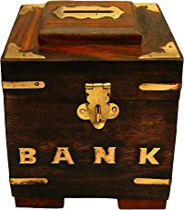 ITOS365 Handicrafted Wooden Money Bank - Coin Saving Box - Piggy Bank - Gifts for Kids, Girls, Boys & Adults, 4 inches