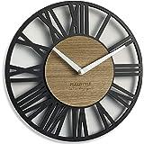 FLEXISTYLE Horloge Murale Noir bois vintage industrielle, silencieuse, salon 30 cm