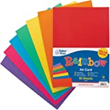 Baker Ross AV535 A4 Rainbow Coloured Card (220gsm), Perfect for Children's Art & Craft Activities, Collages, Model Making and More (Pack of 50), Assorted
