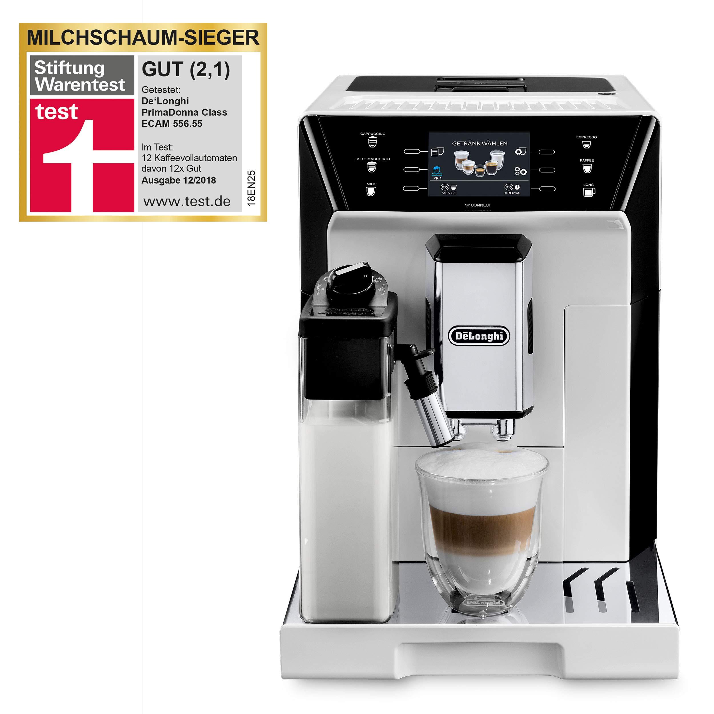 De'Longhi ECAM 556.55.W PrimaDonna Class Kaffeevollautomat mit App-Steuerung
