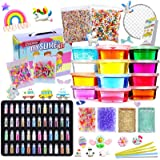 Slime Kit - Slime Making Kit for Kids Art Craft, with 48 Glitter Powder, 12 Crystal Clear Slime, Glitter, Charms, Fruit Slice