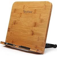 Readaeer Support de lecture portable pour livre de cuisine et bureau en bambou pliable