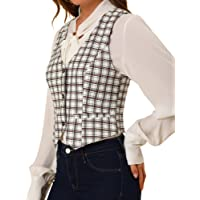 Allegra K Womens Waistcoat Steampunk Dressy Sleeveless Jacket Versatile Racerback Suit Vests