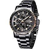 Mens Watches,LIGE Watches Men Military Sports Waterproof Stainless Steel Wristwatch Men Bussiness Dress with Date Analog Quar