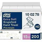 Tork extra weiche Zickzack Papierhandtücher Premium 100278 - H3 Falthandtücher für Zickzack Papierhandtuchspender - besonders