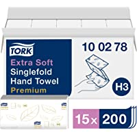 Tork Essuie-mains pliés en V extra-doux Premium - 100278 - Papier d'essuyage pour Distributeur H3 - Pliage en V, haute…