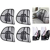 Lukzer 4 PC Ventilation Back Rest with Lumbar Support Mesh Cushion Pad for Car Seat, Home, Office Chair (Black)