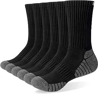 Mens Socks 6 Pairs Wicking Breathable Cushion Comfortable Casual Crew Socks Outdoor Multipack Performance Hiking Trekking Walking Athletic Socks