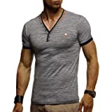 Leif Nelson La Camiseta para Hombre con Cuello en V LN-1330
