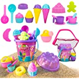 NextX Los niños juegan juguetes de playa de arena con bolsa de malla de pala de cubo,24 piezas