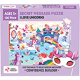 Chalk and Chuckles I Love Unicorns 100 Piece Jigsaw Puzzle, Secret Message Puzzle for Kids Age 5+ Happy Gifts for Girls and B