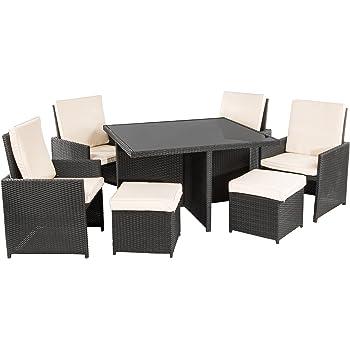 Ultranatura Poly-Rattan Lounge-Set, Palma-Serie 9-teilig / Tisch + 4 Sessel + 4 Hocker inkl. Auflagen