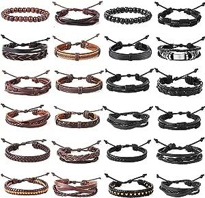 YADOCA 16-24 Pezzi Set Bracciali Pelle Uomo Donna Multistrato Bracciali Intrecciato Cuoio Perline di Legno Braccialetto Regolabile
