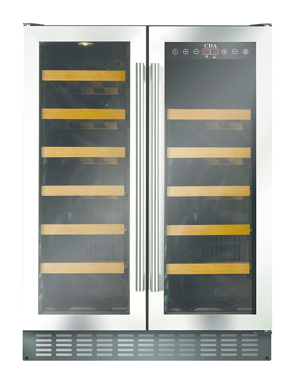 cda fwc623ss 60cm free standing under counter wine cooler in ststeel amazoncouk large appliances - Under Counter Wine Fridge