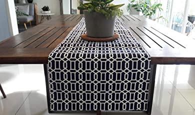 100% Cotton Navy Blue Geometric Printed Table Runner, Reversible