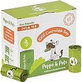 Peppo and Pets- 240 Bolsas Caca Perro -16 Rollos - Compostables - Fabricadas con almidón de maíz- Certificación ASTM D6400- O