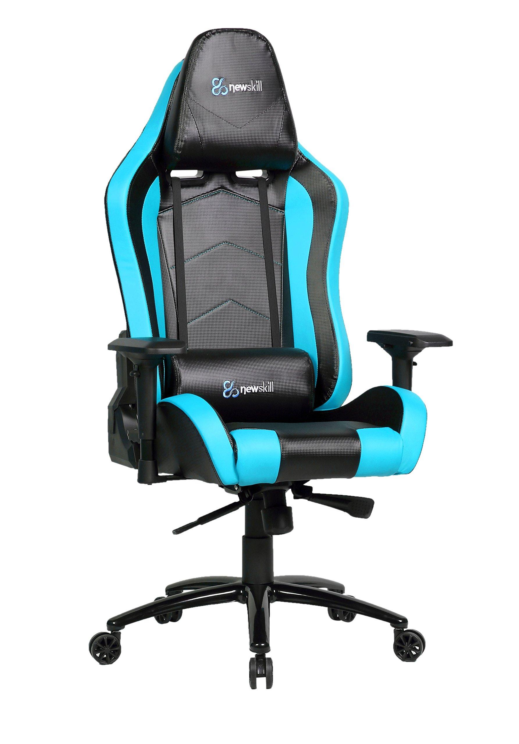 Newskill Takamikura Carbon – Silla gaming profesional (Piel efecto carbono, inclinación y altura regulable, reposabrazos ajustables, reclinable 180º), Color Azul