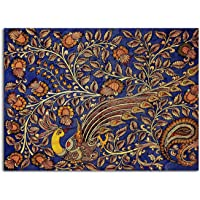 Tamatina Kalamkari Art Canvas Painting | The Golden Peacock | Traditional Art Painting for Home décor|Size - 13X10…