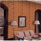 Papel de pared decorativo, Removible, Papel de pared adhesivo, Pegatina de pared de ladrillo, Estilo retro, Rollo de papel mu