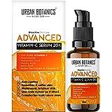 UrbanBotanics Advanced Vitamin C Face Serum 20% - Men & Women - with Hyaluronic, Ferulic & Kojic Acid, Niacinamide, Green Tea