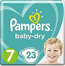 Pampers Baby-Dry Windeln Größe7 (15+ kg), Luftkanäle für atmungsaktive Trockenheit die ganze Nacht, Sparpack, 1er Pack (1 x 23 Stück)