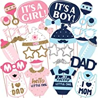 Wobbox Baby Shower Photo Booth Party Props DIY Kit, Mom & Dad, Pink & Blue with Silver & Golden Glitter, Baby Shower…