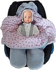 Baby Fußsack für Kinderwagen, Einschlagdecke Maxi cosi, Babyschale - für Übergangszeit Winter aus Fleece/Baumwolle SWADDYL Rosa