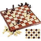 UNEEDE Magnetiskt schackbrädeset 31,2 cm x 31,2 cm träfärg 2-i-1 schack- och schackspelsset med bärbar hopfällbar bräddesign